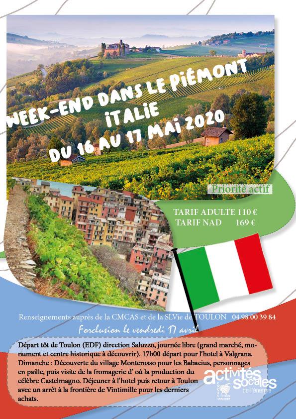 2020 MAI WEEK END LE PIEMONT ITALIE